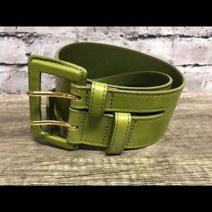 Hobo women's olive green leather wide belt Sz M